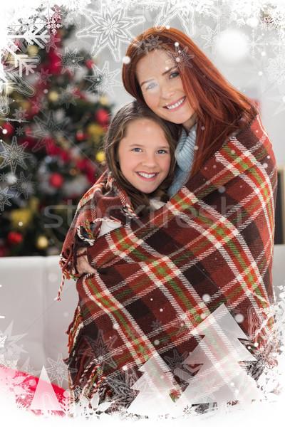 összetett kép ünnepi anya lánygyermek pléd Stock fotó © wavebreak_media