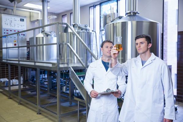 Twee mannen laboratoriumjas naar beker bier fabriek Stockfoto © wavebreak_media