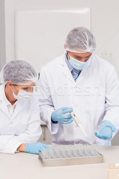 Wetenschappers werken schotel laboratorium vrouw medische Stockfoto © wavebreak_media