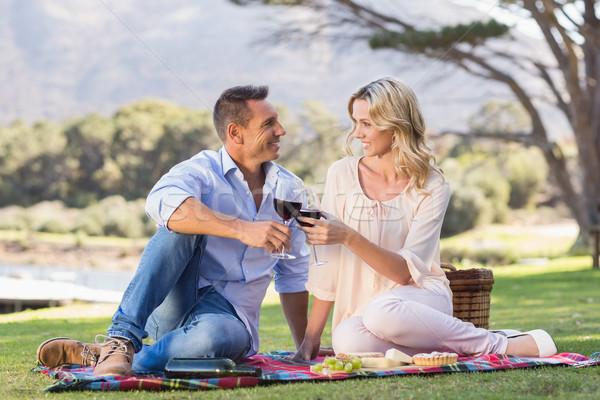 Smiling couple drinking wine and toasting  Stock photo © wavebreak_media