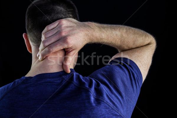 ストックフォト: 背面図 · 男 · 首の痛み · 黒 · 手