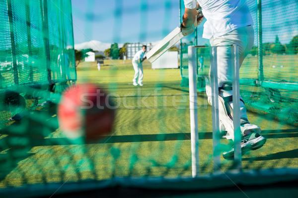 Low section of spoertsman playing cricket at field Stock photo © wavebreak_media