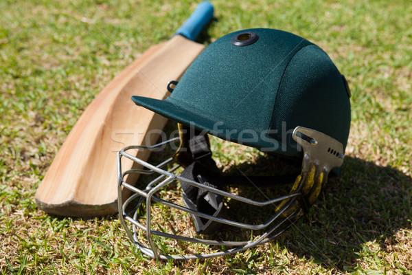 Vue cricket casque bat domaine Photo stock © wavebreak_media