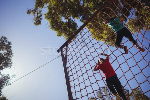 Grup uygun kadın tırmanma net Stok fotoğraf © wavebreak_media