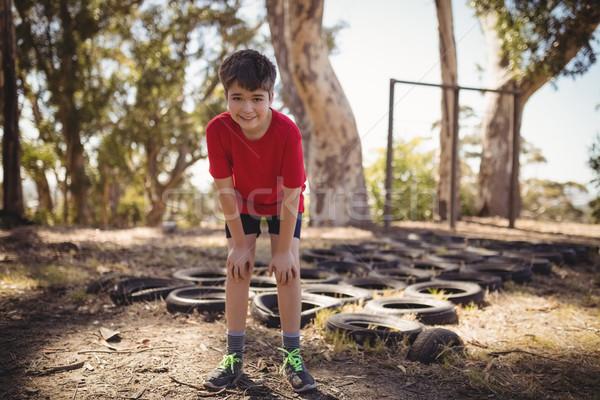Retrato cansado nino pie arranque campamento Foto stock © wavebreak_media