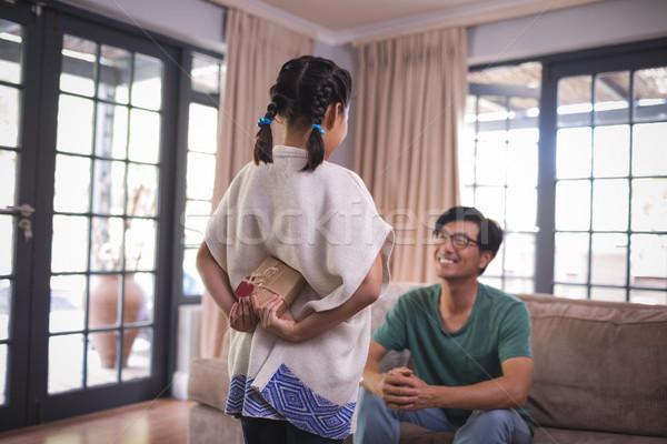Lánygyermek rejtőzködik ajándék doboz apa nappali otthon Stock fotó © wavebreak_media