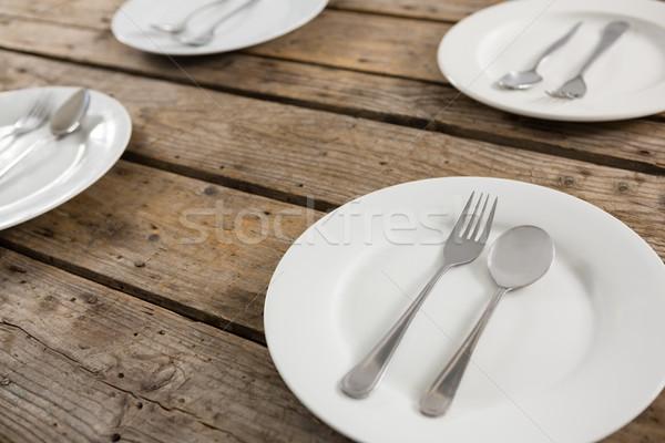 пластина деревянный стол древесины металл Сток-фото © wavebreak_media
