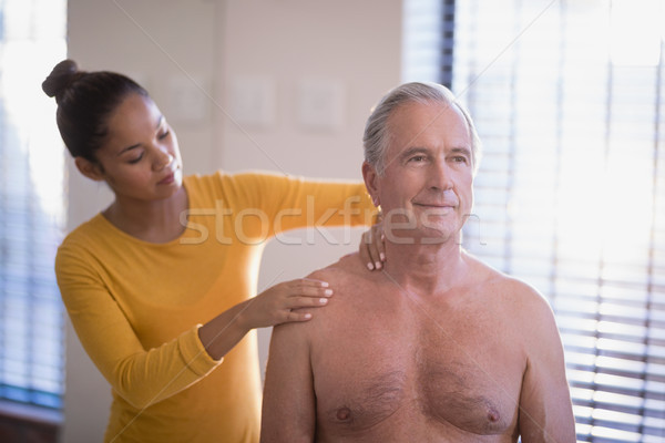 Female therapist giving neck massage to shirtless senior male patient Stock photo © wavebreak_media