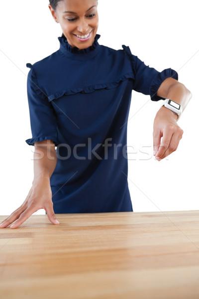 üzletasszony munka láthatatlan tárgy közelkép zöld Stock fotó © wavebreak_media