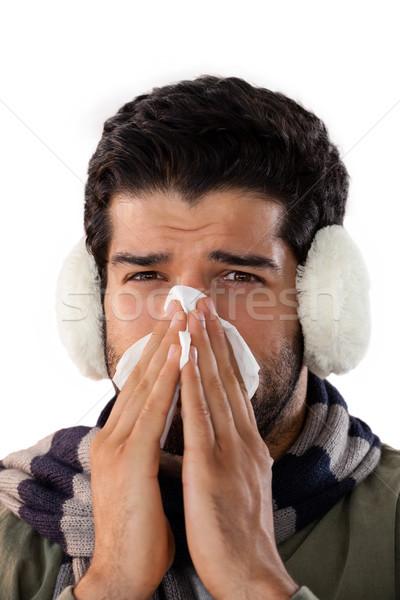 Uomo soffia il naso tessuto carta bianco moda Foto d'archivio © wavebreak_media