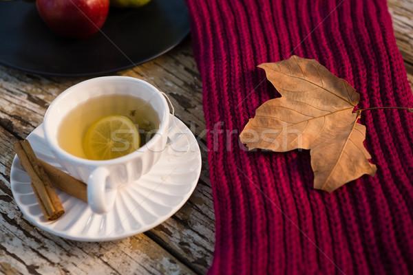 Magasról fotózva kilátás zöld tea pulóver fa asztal asztal Stock fotó © wavebreak_media