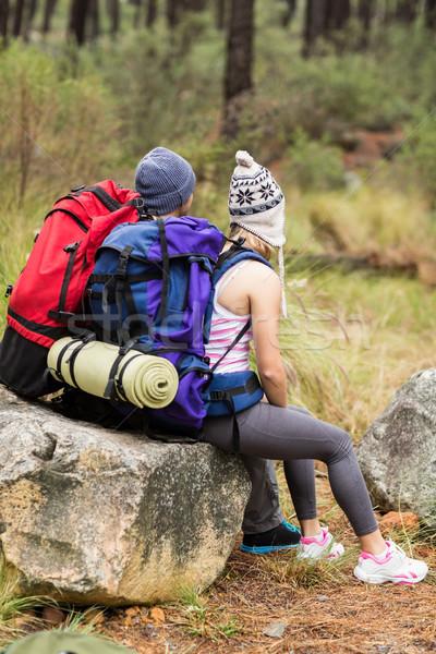 вид сзади молодые счастливым турист пару природы Сток-фото © wavebreak_media