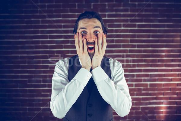 肖像 男 壁 クール ライフスタイル レンガの壁 ストックフォト © wavebreak_media
