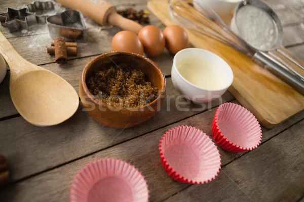 Vista ingredientes mesa de madera alimentos Foto stock © wavebreak_media