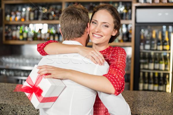 A couple hugging in a bar Stock photo © wavebreak_media
