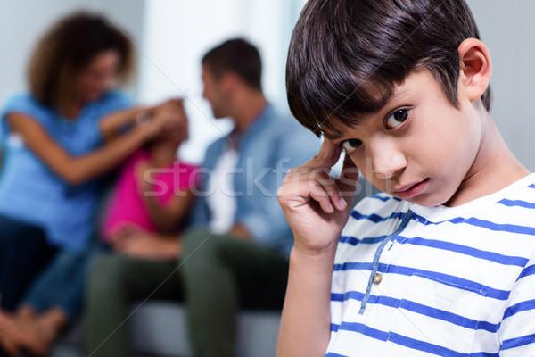 Ritratto sconvolto ragazzo primo piano famiglia casa Foto d'archivio © wavebreak_media