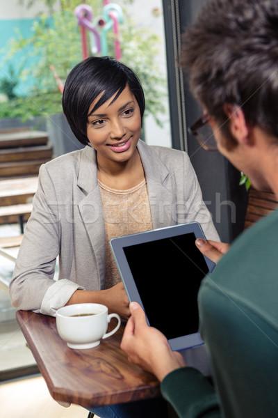 Paar vergadering coffeeshop liefde man koffie Stockfoto © wavebreak_media