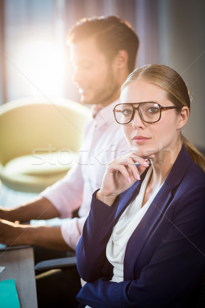 Işkadını bakıyor kamera iş arkadaşı çalışma kadın Stok fotoğraf © wavebreak_media
