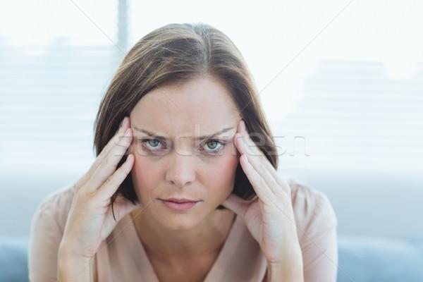 Portré nő szenvedés fejfájás fiatal nő otthon Stock fotó © wavebreak_media