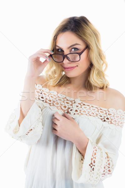 портрет красивая женщина позируют очки белый Сток-фото © wavebreak_media