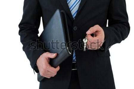 Stock fotó: Középső · rész · üzletember · tart · kulcsok · fehér · internet