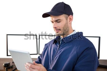 Mutlu güvenlik subay beyaz bilgisayar Stok fotoğraf © wavebreak_media