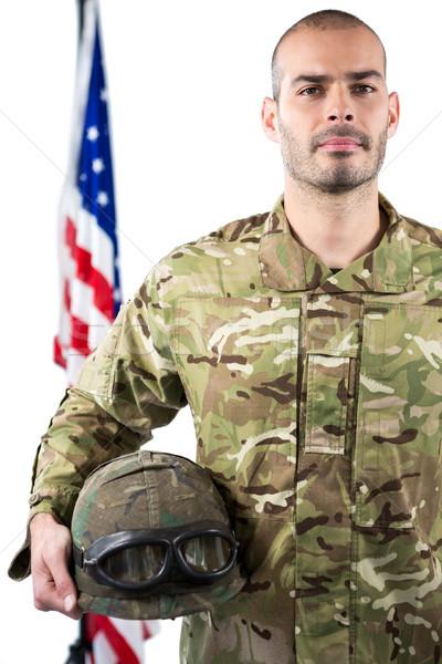 Retrato sonriendo soldado pie casco Foto stock © wavebreak_media