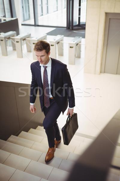 бизнесмен портфель скалолазания лестницы служба человека Сток-фото © wavebreak_media