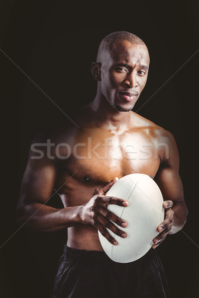 肖像 シャツを着ていない 選手 ラグビーボール 黒 ストックフォト © wavebreak_media