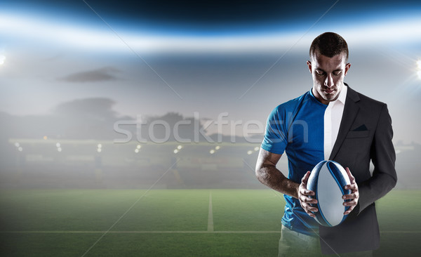 Composite image of rugby player holding ball Stock photo © wavebreak_media