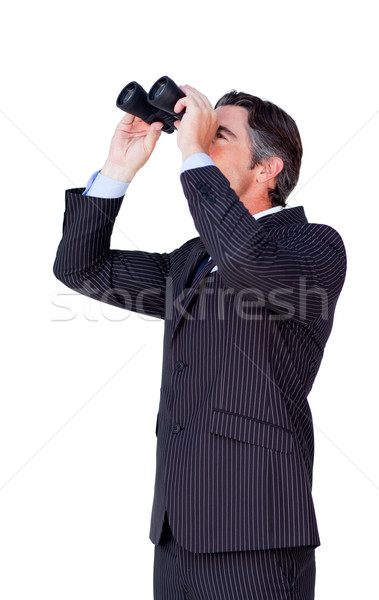 Empresário olhando binóculo isolado branco homem Foto stock © wavebreak_media