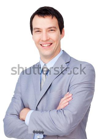 肖像 笑みを浮かべて ビジネスマン 折られた 腕 孤立した ストックフォト © wavebreak_media