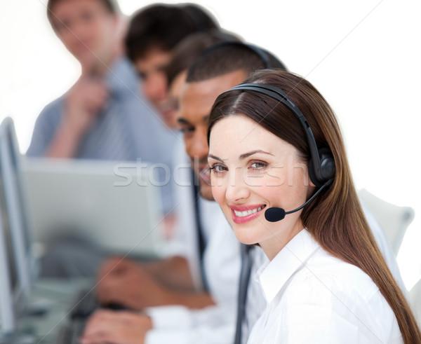 Equipe de negócios trabalhando call center branco computador microfone Foto stock © wavebreak_media