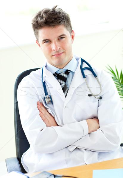 Portré férfi orvos tart sztetoszkóp fehér Stock fotó © wavebreak_media