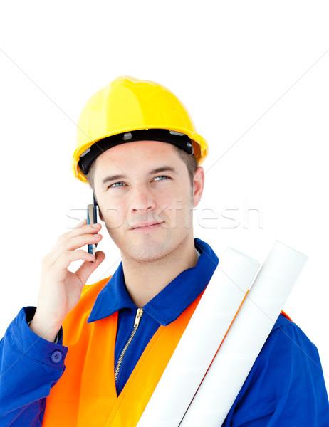 Ambicioso masculino arquiteto falante telefone Foto stock © wavebreak_media