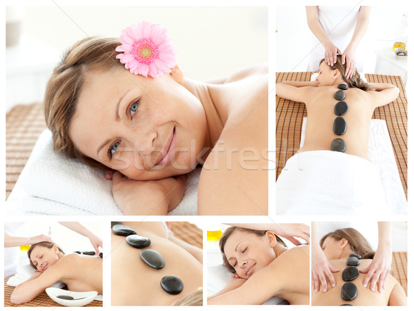 Collage of a young girl being massaged  Stock photo © wavebreak_media