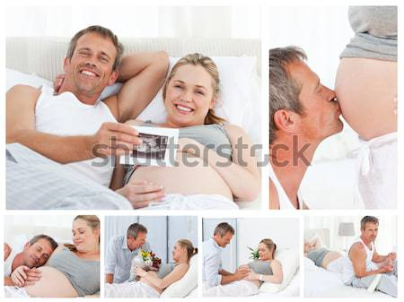 Collage paar genieten samen home Stockfoto © wavebreak_media