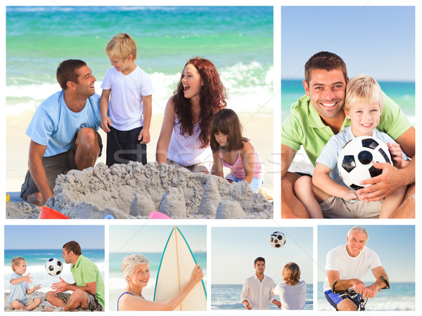 Collage famille plage sourire visage fond Photo stock © wavebreak_media