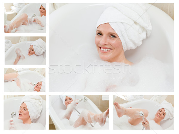 Collage of a cute woman taking a bath Stock photo © wavebreak_media