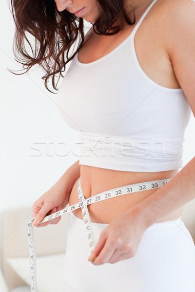 格好良い ブルネット 女性 腹 巻き尺 ストックフォト © wavebreak_media