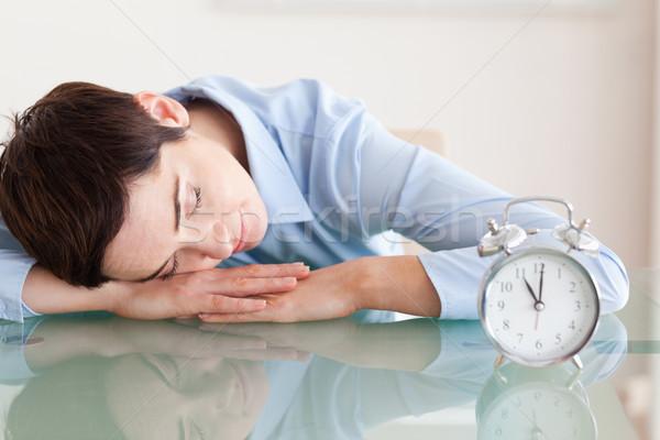 Uyku sevimli esmer kadın kafa büro Stok fotoğraf © wavebreak_media
