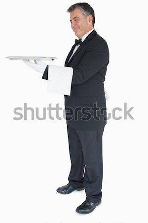 Stock fotó: üzletember · tart · felirat · fehér · kezek · öltöny