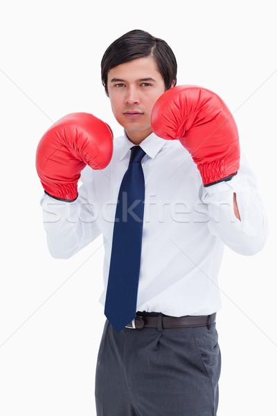 Fiatal kereskedő boxkesztyűk fehér üzlet férfi Stock fotó © wavebreak_media
