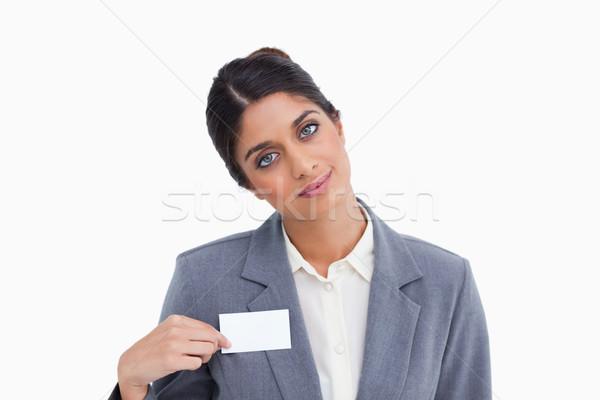Femminile imprenditore punta nome segno bianco Foto d'archivio © wavebreak_media