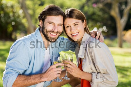 Woman and a man looking straight ahead while holding glasses of red wine in a park Stock photo © wavebreak_media