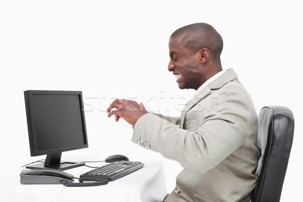Foto stock: Zangado · empresário · monitor · branco · cara · homem