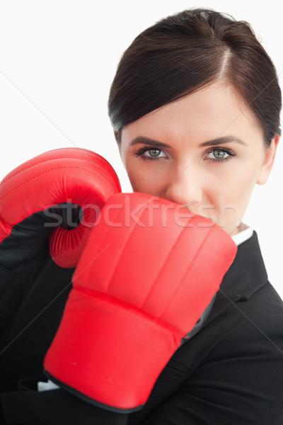 Zakenvrouw Rood bokshandschoenen witte ogen Stockfoto © wavebreak_media