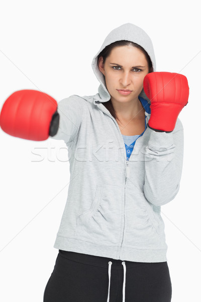 Braun Frau Sweatshirt Boxen weiß Sport Stock foto © wavebreak_media
