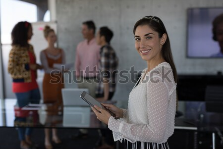учитель улыбаясь компьютер класс колледжей интернет Сток-фото © wavebreak_media