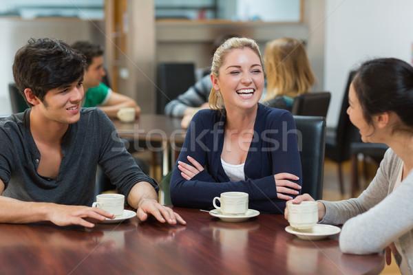 Arkadaşlar kahve birlikte kolej kafe Stok fotoğraf © wavebreak_media